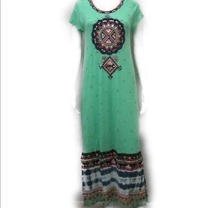 Calypso St Barth linen mandala maxi dress XS